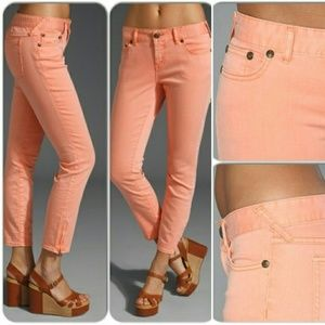 Free People Peach Pink Skinny Ankle Zip Size 27
